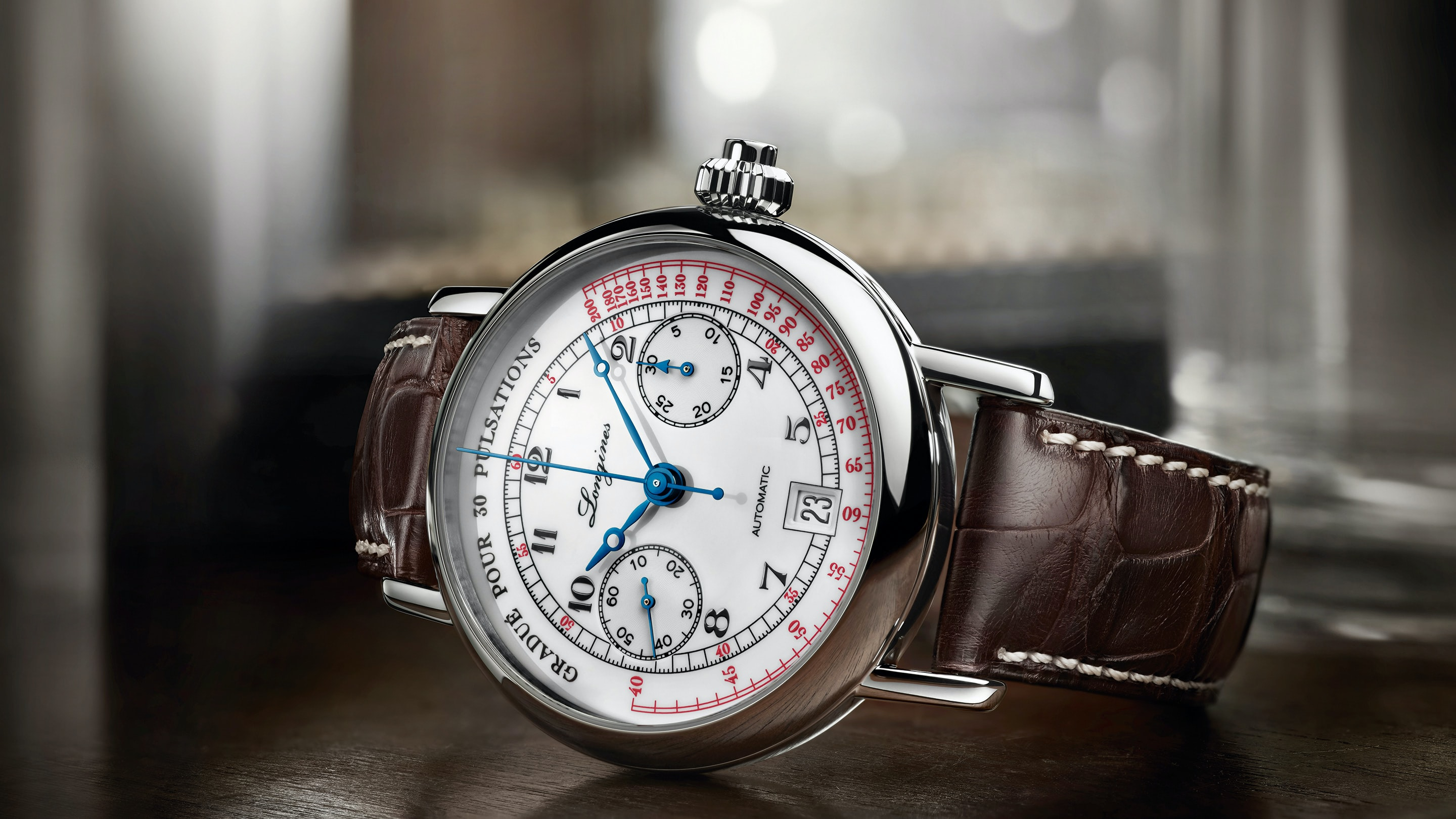 The Longines Pulsometer Chronograph, With White Lacquer Dial
