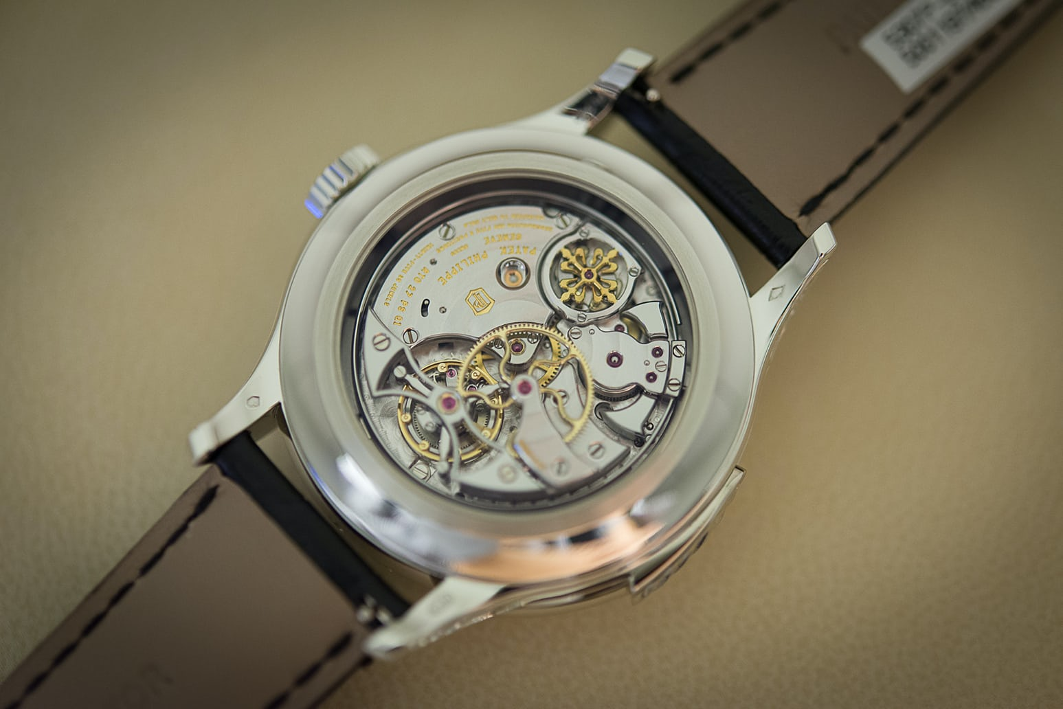 Patek repeater movement showing centrifugal governor, and tourbillon