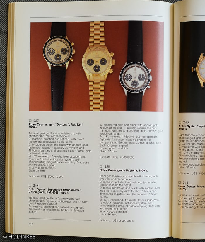Catalog with Rolex Daytona Paul Newman