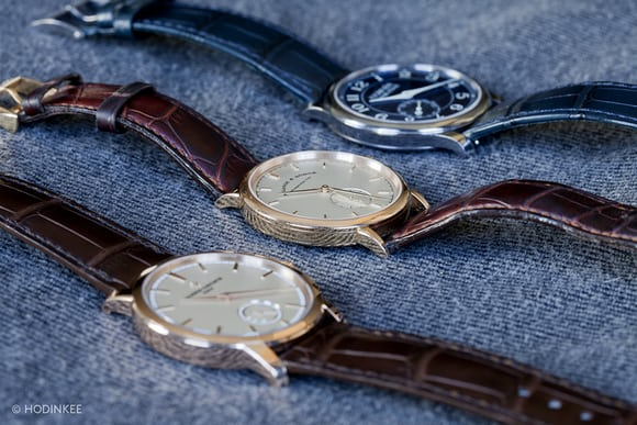 A. Lange & Söhne's Saxonia in pink gold, F.P. Journe's Chronomètre Bleu, and Vacheron Constantin's Patrimony Traditionnelle Small Seconds