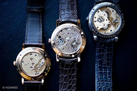 A. Lange & Söhne's Saxonia in pink gold, F.P. Journe's Chronomètre Bleu, and Vacheron Constantin's Patrimony Traditionnelle Small Seconds