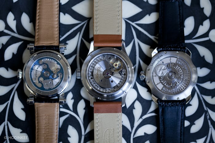 Sarpaneva K1, the Speake-Marin Serpent Calendar, and the Habring2 Jumping Second Pilot movement view
