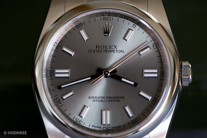 The 36 mm Oyster Perpetual case curves nicely over the wrist and is a great  size – not too big eba5bccdce20