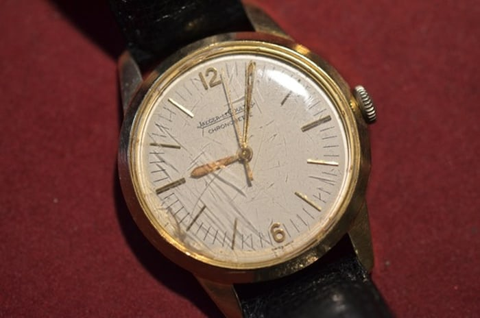 9b0be886d0018 A yellow gold Jaeger-LeCoultre Geophysic with scratched original crystal  sold two years ago at Antiquroum.