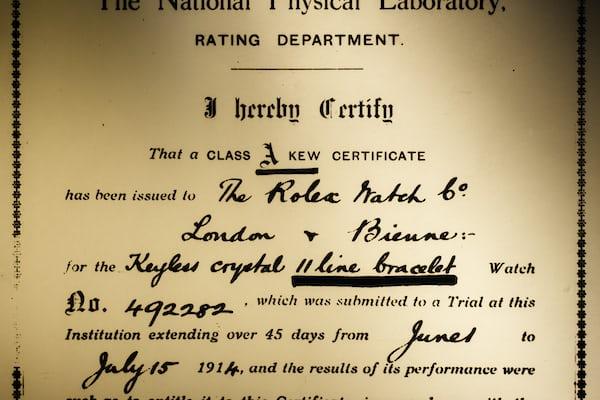 Class A Observatory Certificate Rolex