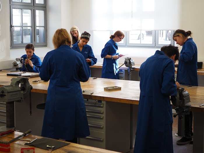 Toolmaking students at work