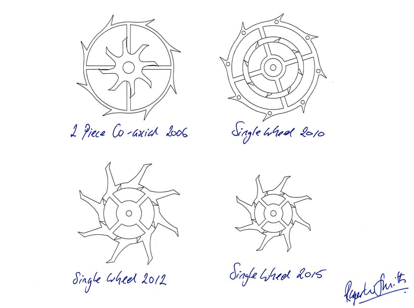 Design progression of the co-axial escape wheel, beginning with the 2006 version which was Roger's first interpretation of George Daniels' escapement. The 2006 version was fitted to the first Series 2 wristwatches that left Roger's studio