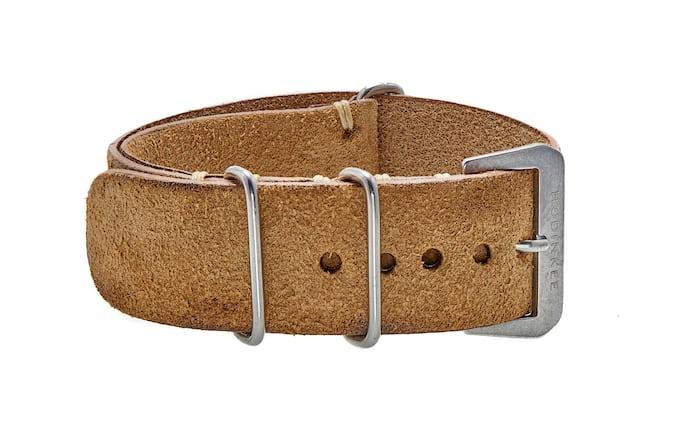 Distressed beige leather NATO watch strap