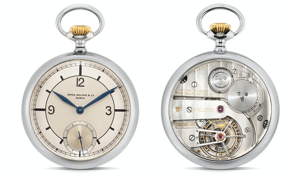 A Patek Philippe Pocket Watch In Stainless Steel, With Observatory Tourbillon