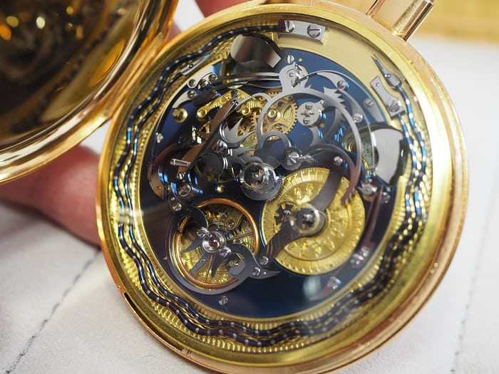 Perrin Frères pocket watch movement, notice the serpent gongs