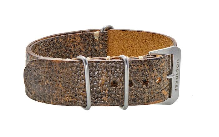 Dark stained brown leather NATO watch strap