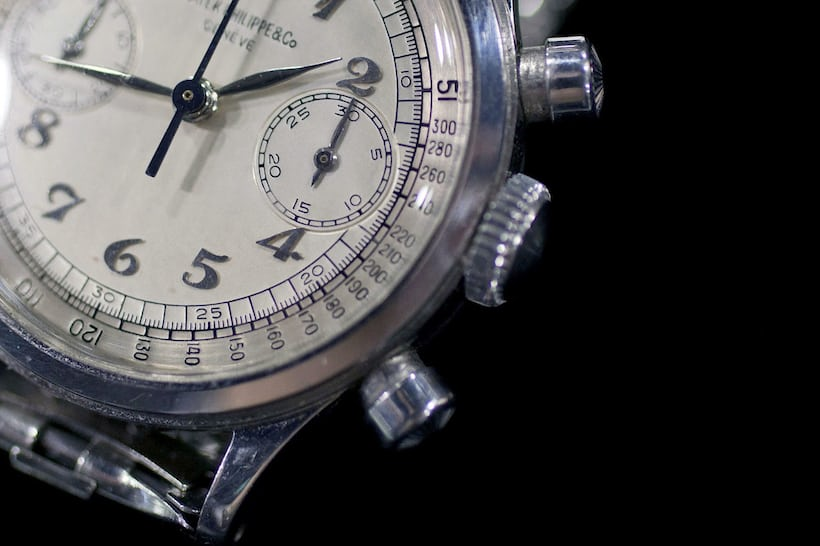 Patek waterproof chronograph 1463 in stainless steel hands