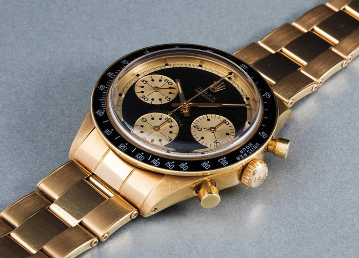 "Lot 222 - ROLEX Cosmograph Daytona, ""Paul Newman"", 6241, 18k yellow gold, 1968"