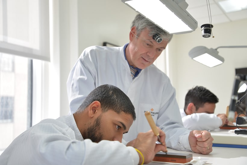 Patek Philippe Horology Program Technical Director Laurent Junod, and student.