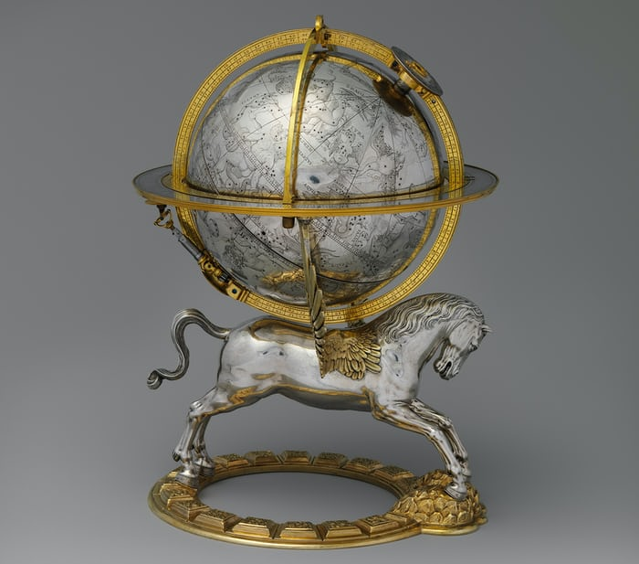 Celestial globe with clockwork, Gerhard Emmoser, 1579.