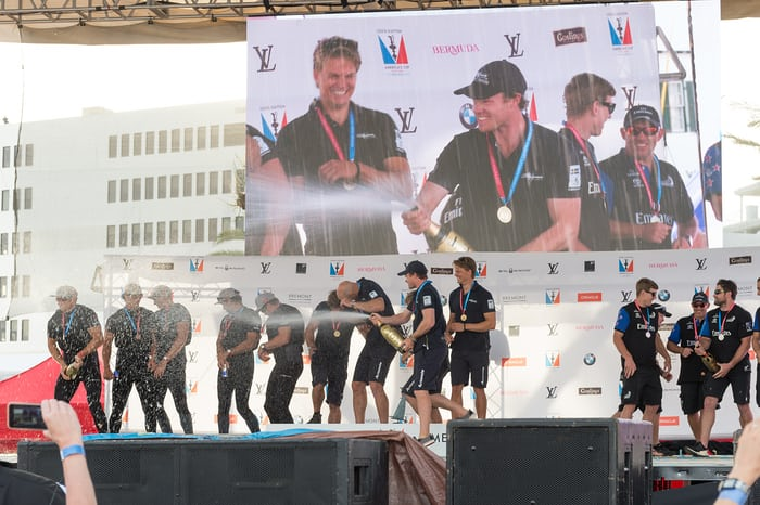 America's Cup Champagne Shower 2015