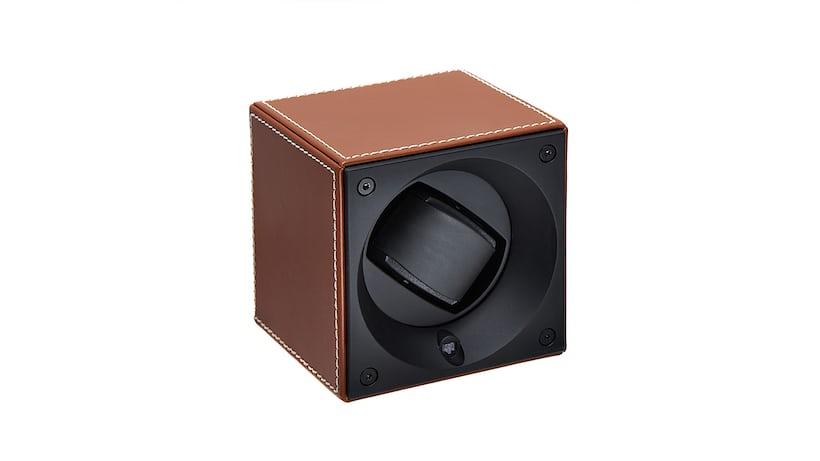 Brown Calfskin Swiss Kubik Watch Winder