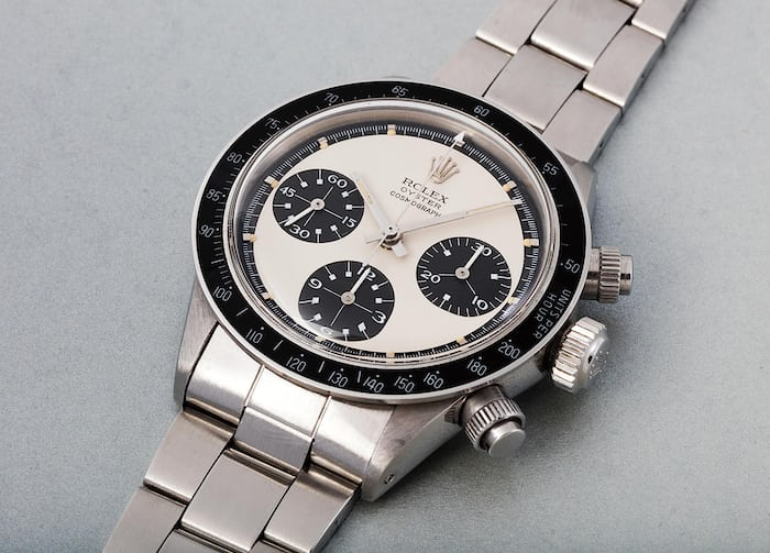 "Lot 293 - ROLEX Oyster Cosmograph ""Paul Newman Panda"", 6263, stamped 6239 inside the case back, Stainless steel, 1971."