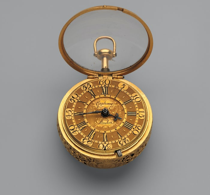 Pair-case watch with quarter repeating mechanism, George Graham, 1719-20.
