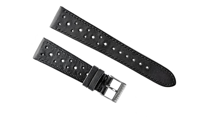 leather racing strap black