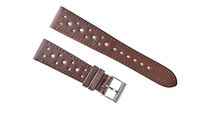 leather racing watch strap brown