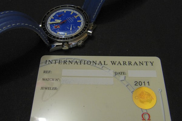 Omega Speedmaster CART Edition guarantee card