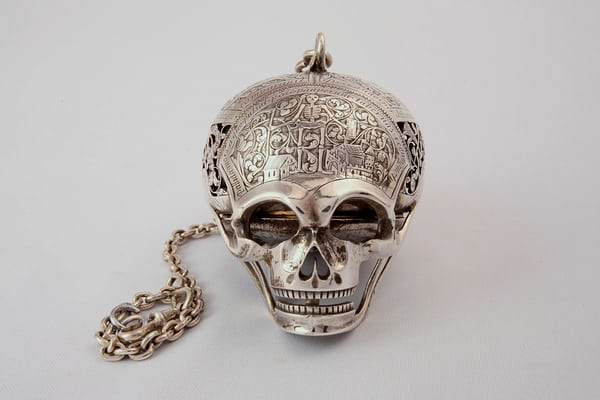 An engraved skull containing a watch, which was long believed to have been given to Mary Seaton by Mary Queen of Scots at the time of her execution. It was in fact made in the 18th century, an early example of the Romantic Revival.