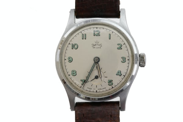 """Smiths De Luxe"" wristwatch by Smiths English Clocks Ltd. This watch was on the wrist of Sir Edmund Hillary when he reached the summit of Everest in 1953."