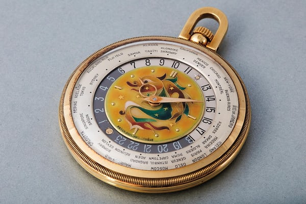 "Lot 164 - PATEK PHILIPPE Worldtime ""Star Dragon"", 605 HU, 18k yellow gold, 1944"