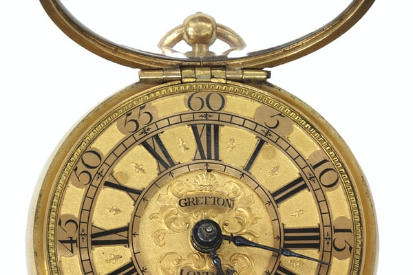 The dial of a fine gold pocket watch by Charles Gretton ( c.1649- c.1733 ) of Fleet Street, London.