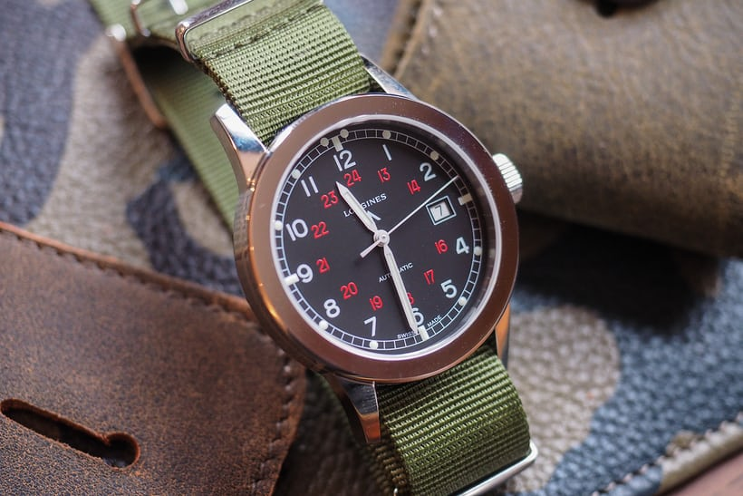 longines COSD military watch dial