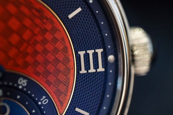 Voutilainen GMT-6 Platinum Unique Piece dial closeup