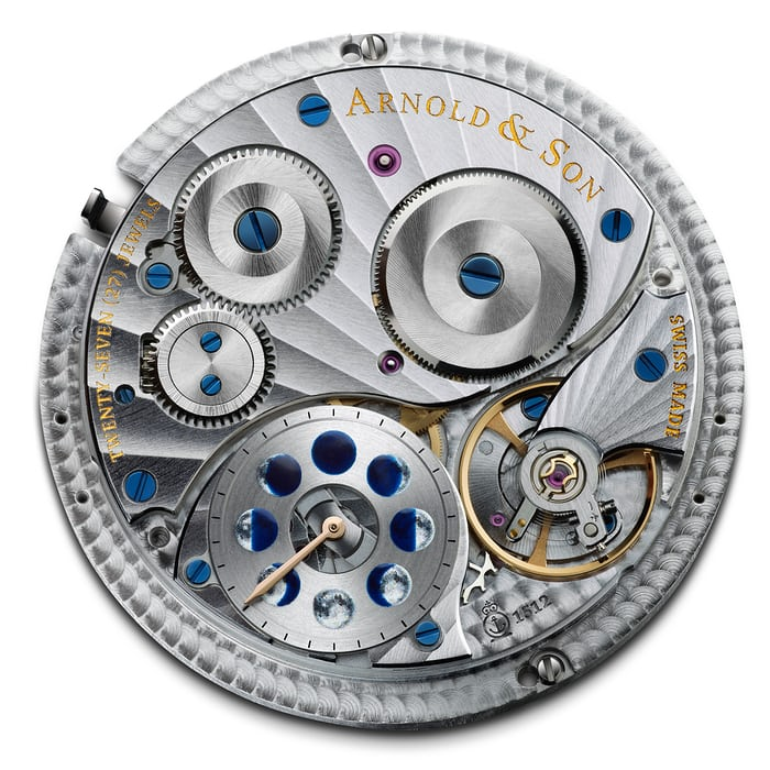 The Arnold & Son HM Double Hemisphere Perpetual Moon movement showing moonphase setting mechanism