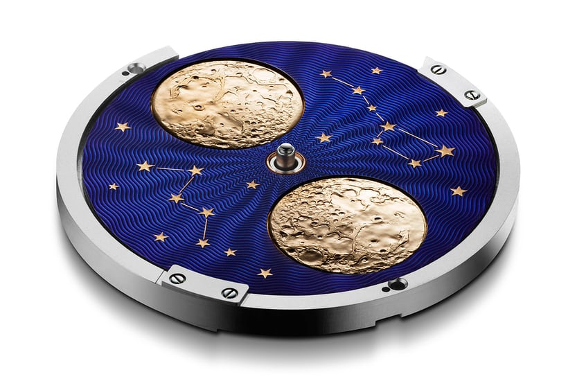 The Arnold & Son HM Double Hemisphere Perpetual Moon moonphase disk