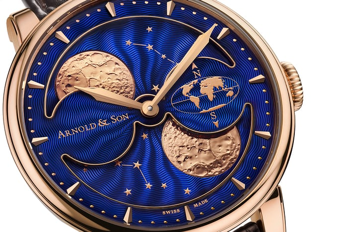 The Arnold & Son HM Double Hemisphere Perpetual Moon dial closeup