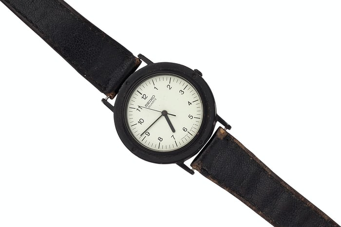 "The original ""Steve Jobs"" Seiko Chariot series wristwatch, as auctioned in 2016."