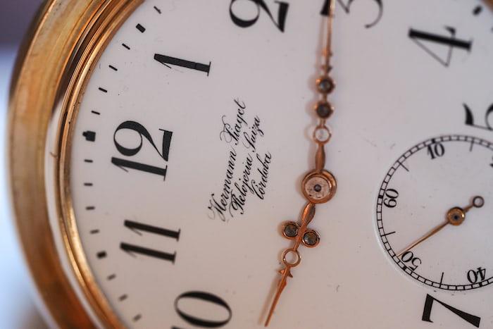 Girard-Perregaux pocket watch three bridge tourbillon 1860 dial closeup