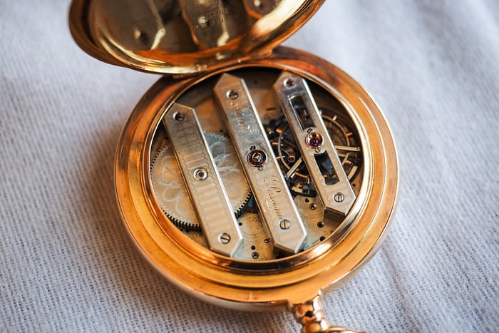 Girard-Perregaux pocket watch three bridge tourbillon 1860 movement oblique angle