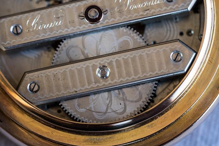 Girard-Perregaux pocket watch three bridge tourbillon 1860 mainspring barrel