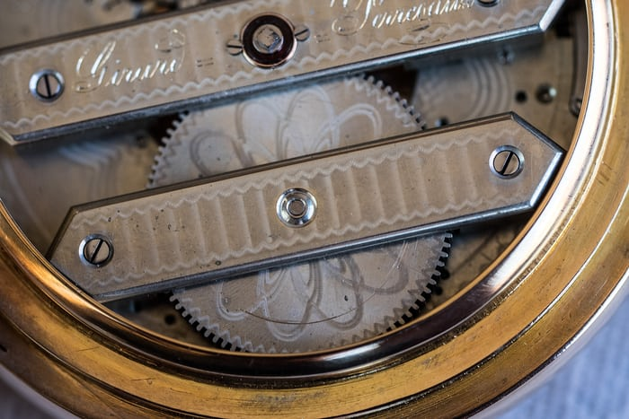 Girard-Perregaux pocket watch three bridge tourbillon 1860 mainspring barrel