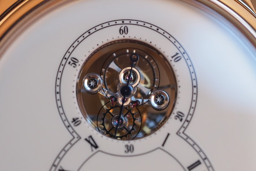 Jaquet Droz Grande Seconde Tourbillon Ivory Enamel tourbillon closeup