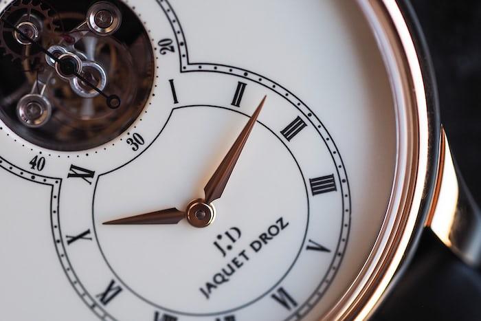 Jaquet Droz Grande Seconde Tourbillon Ivory Enamel dial closeup