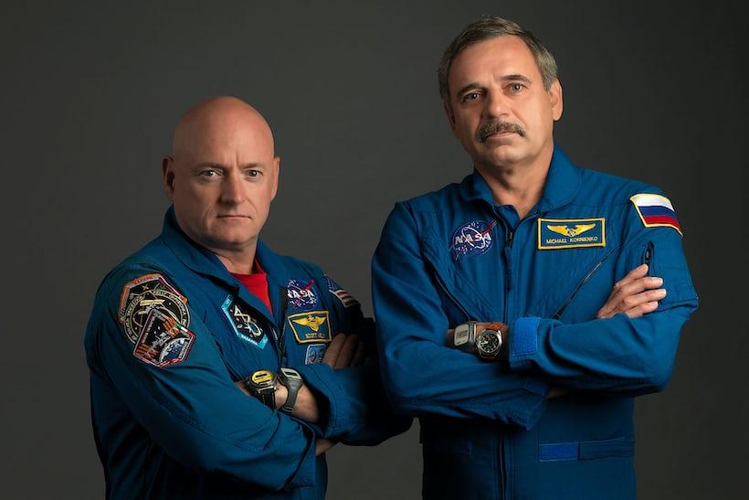 Kelly and Korniyenko with Speedmaster and Fortis Cosmonaut
