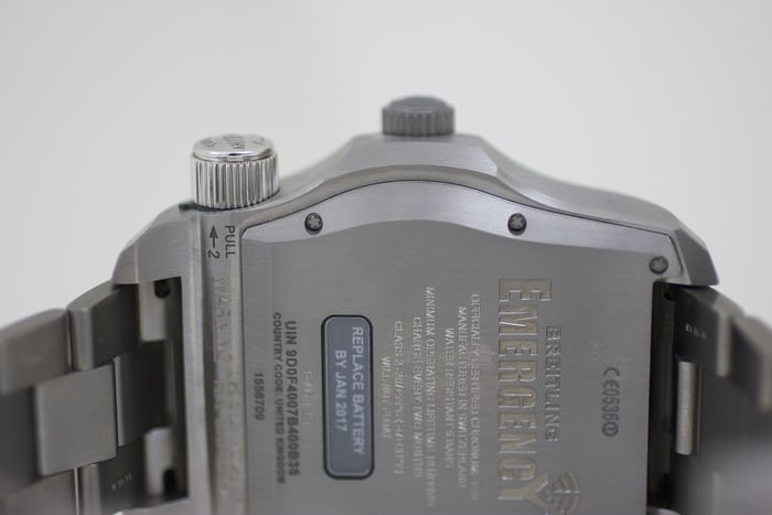 The Breitling Emergency caseback closeup