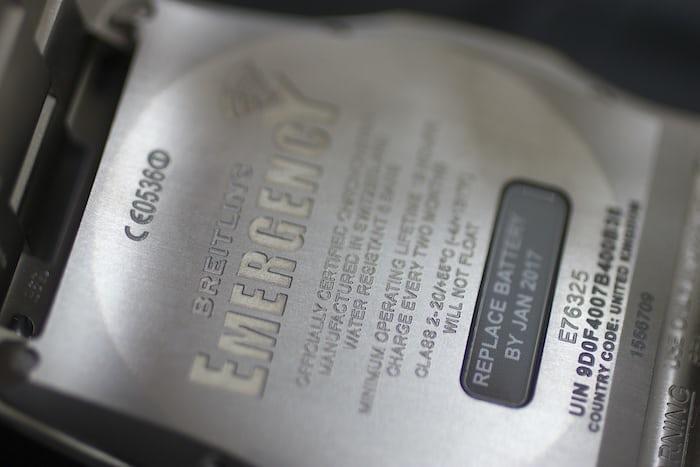 The Breitling Emergency caseback