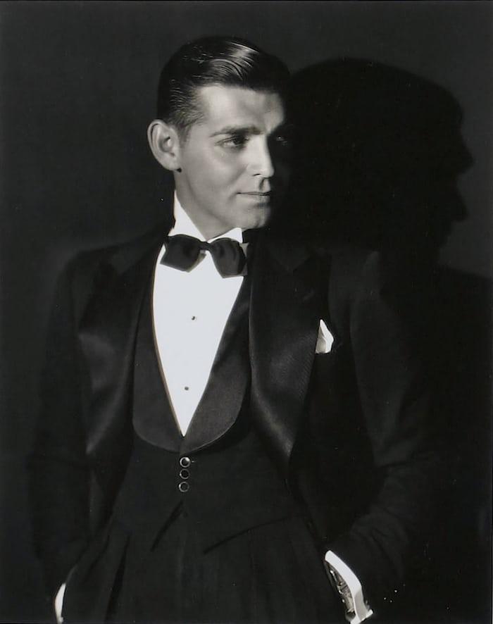 clark gable in black tie with wristwatch