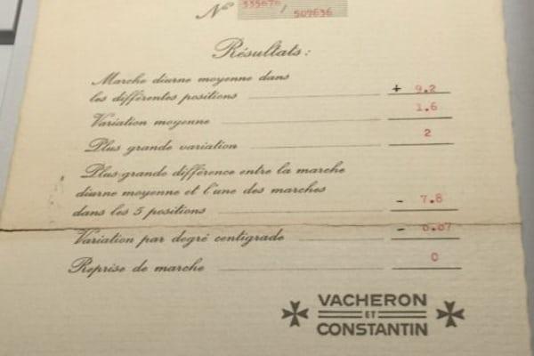 Vacheron Constantin Chronometer Certificate