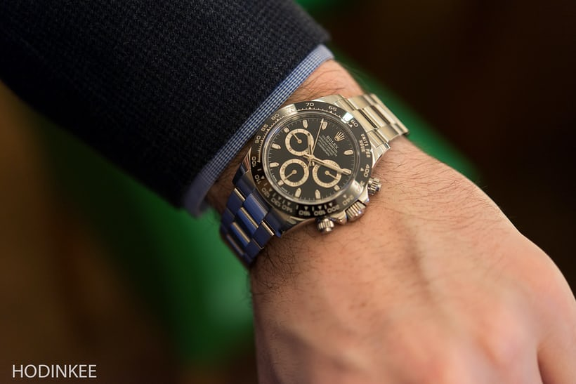 The black dial Daytona on HODINKEE European Editor Arthur Touchot's wrist.