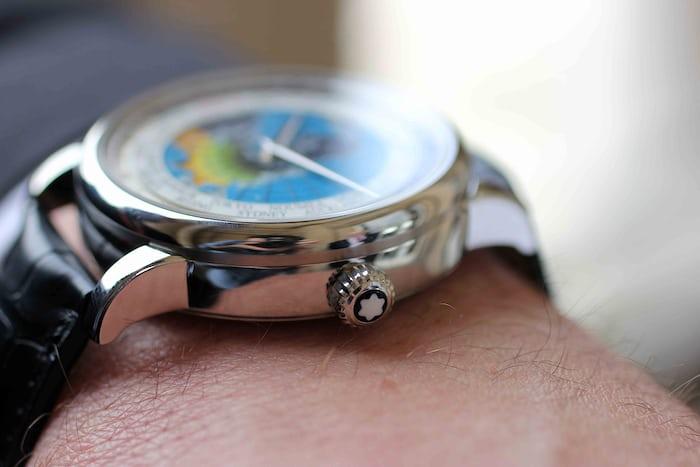 Montblanc 4810 Orbis Terrarum side view on the wrist