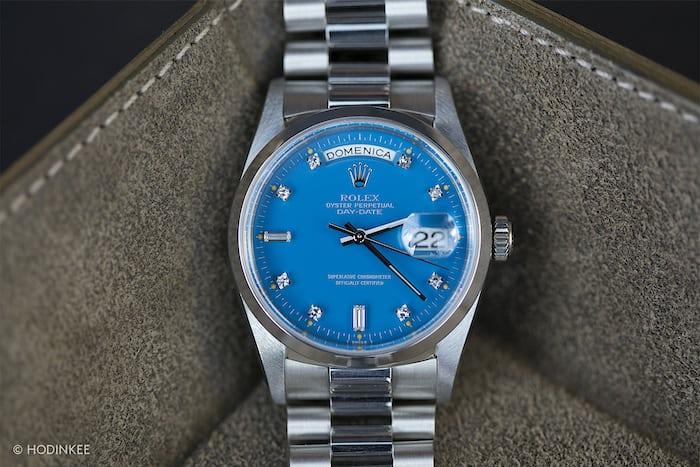 day date platinum stella dial blue